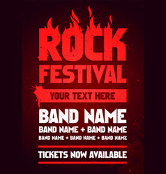 rock festival party flyer design template vector image