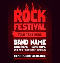 rock festival party flyer design template vector image