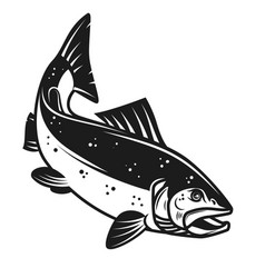 Salmon fish icon isolated on white background vector