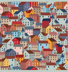 Seamless pattern with colorful houses city or vector