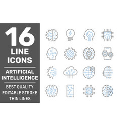 set artificial intelligence ai related vector image