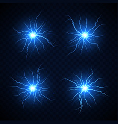 set isolated lightning balls vector image
