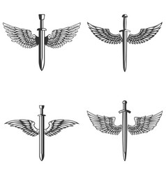 Set of emblems with medieval sword and wings vector
