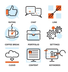 Set of SEO contour icons vector