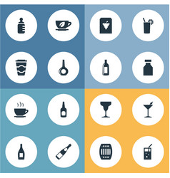 set of simple water icons vector image
