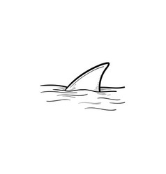 Shark fin over water hand drawn outline doodle vector