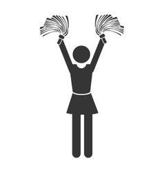 Silhouette cheerleader girl isolated vector