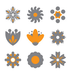 Simple flower icons of different shapes vector