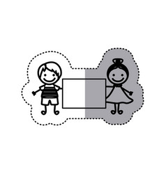 sticker sketch silhouette caricature couple boy vector image