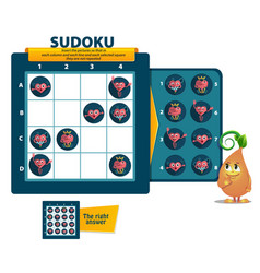 Sudoku game heart logic vector