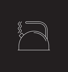 tea kettle line icon outline sign vector image