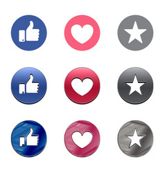 thumb up heart and star icon on a white vector image