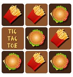 Tic-tac-toe hamburger and fried potatoes vector