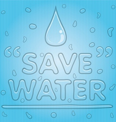 Transparent Water Drop with Save Water Word vector image