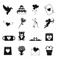 Valentines simple icons set vector image