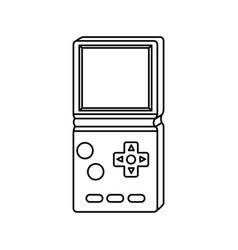 Video game handle nineties line style icon vector