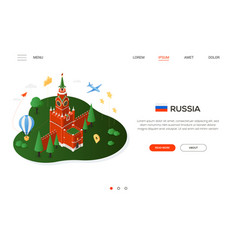 visit russia - modern colorful isometric web vector image