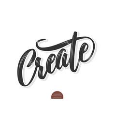 Volumetric create phrase hand drawn vector