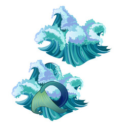 waves of the sea and the mermaid tail isolated on vector image