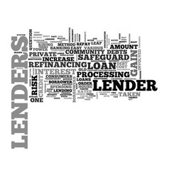 What do lenders gain text word cloud concept vector