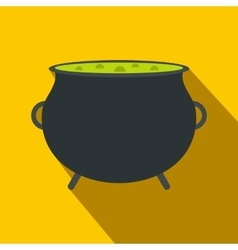 Witch cauldron with green potion flat vector image