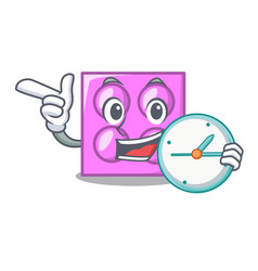 with clock toy brick character cartoon vector image