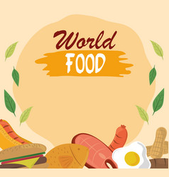 world food day healthy lifestyle meat fish nuts vector image