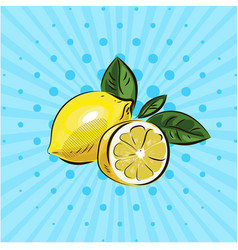 yellow lemon and half lemon with green leaves on vector image