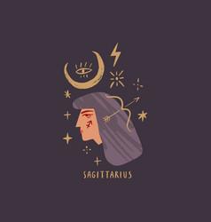zodiac girl sagittarius character space head sign vector image