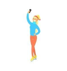 Girl On Skates Taking Selfie vector image