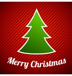 Green Christmas tree on red striped background vector image