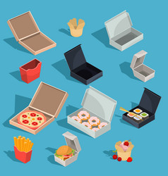 set of isometric of fast food vector image