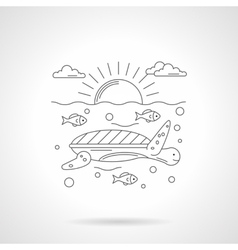 Turtle in sea detailed line icon vector image vector image