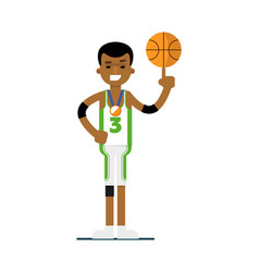 young black man basketball player with ball vector image