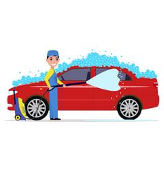 a cartoon man washes a car vector image