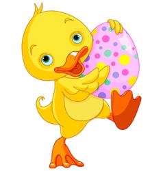 Easter Duckling Carry Egg vector image