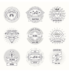 Shoemaking logo or shoes repair labels in hipster vector image vector image