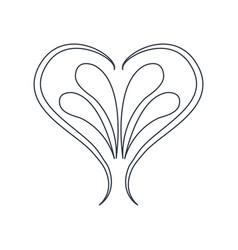 swirl heart vintage baroque ornament style line vector image