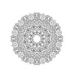 symmetric mandala of coloring book for adults vector image