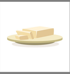 butter or margarine on a plate baking ingredient vector image