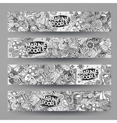 Cartoon marine nautical doodle corporate identity vector image