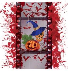 film strip skull and pumpkin vector image