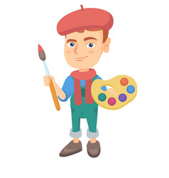 boy dressed as an artist holding brush and paints vector image vector image