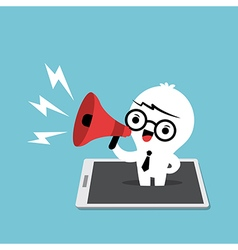 business man with megaphone cartoon vector image vector image