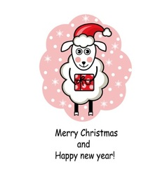 Cartoon sheep holding a gift vector image vector image