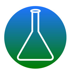 conical flask sign white icon in bluish vector image