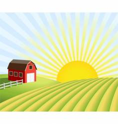 farm and fields at sunrise vector image vector image