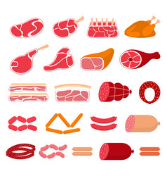 flat of meat products vector image