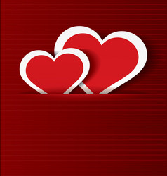 Paper hearts in pocket textured vector image