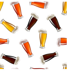 realistic detailed glasses of beer seamless vector image vector image